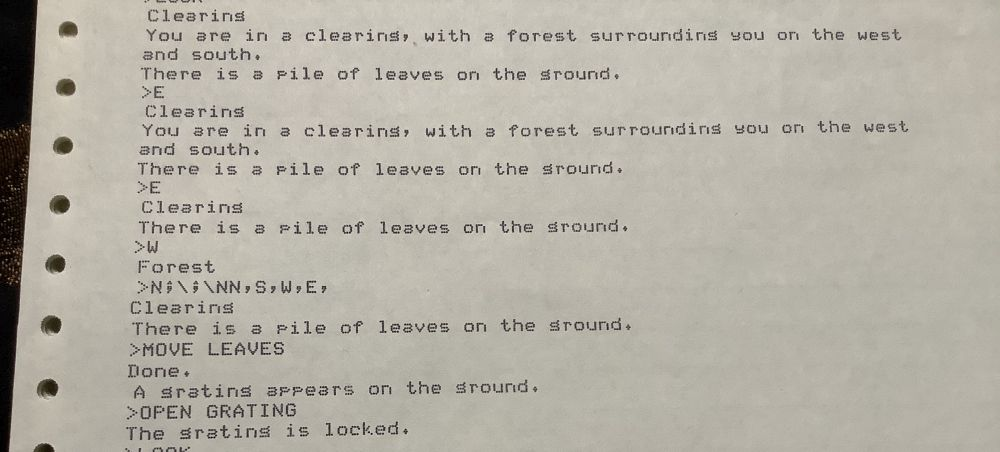 Another image of a printout including the text 'MOVE LEAVES'
